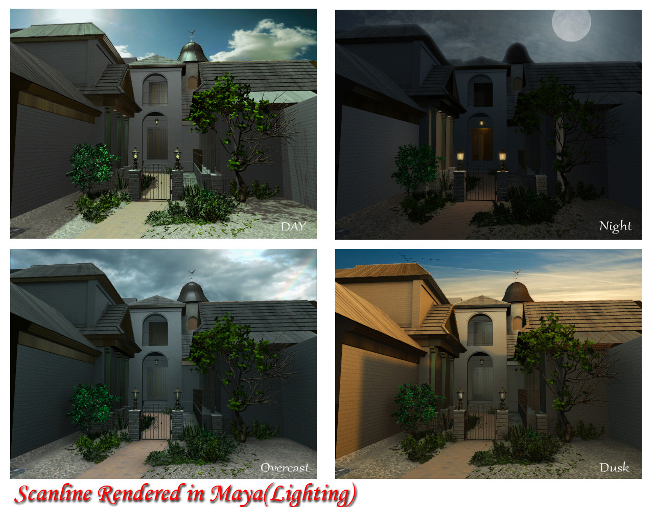 I have lighting this Exterior in Autodesk Maya 2011 using Maya software. U r free to give ur comments in my work. It will be totally my pleasure that u like my works.