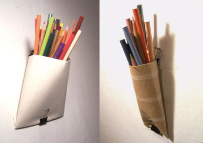 Via nestfullofeggs:  toilet paper tube pencil holder  See also: Earlier Unconsumption posts on new uses for paper tubes — toilet paper and/or paper towel tubes — here.