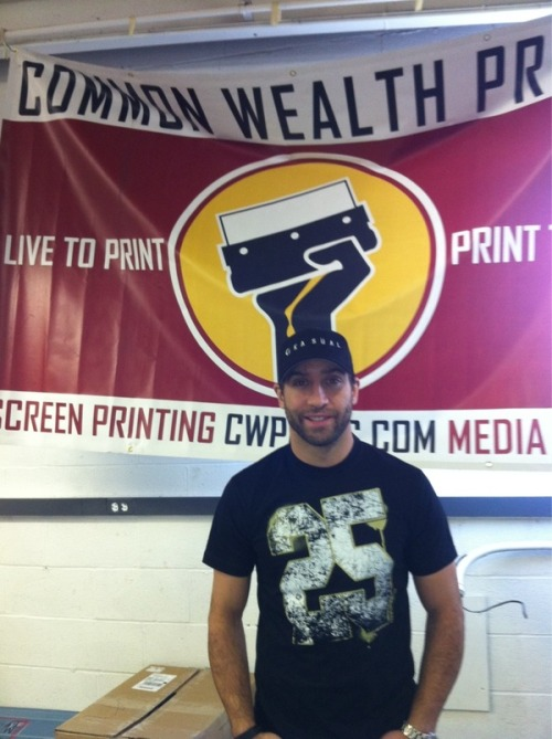 Our newest customer… Max Talbot!  We're designing and printing a series of shirts for Max.  Rad!