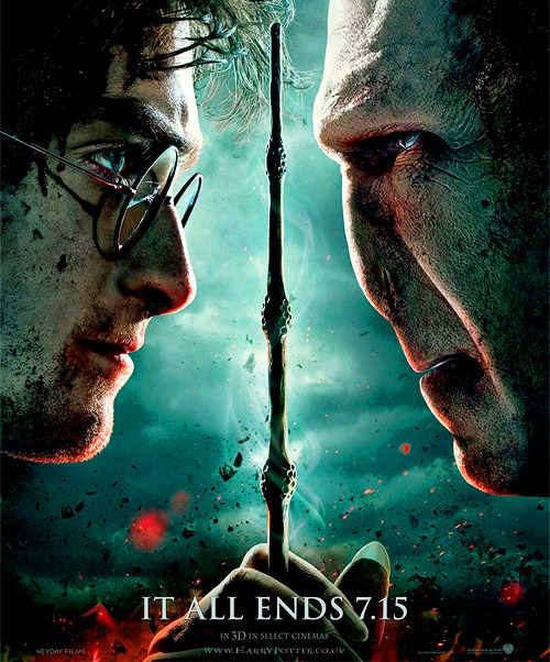 "lumos-maxima:   The first poster for Harry Potter and the Deathly Hallows - Part 2 has been released! It depicts Harry and Voldemort face to face with one wand between them.  At the bottom it reads ""It all ends 7.15"". (source: Mugglenet)"