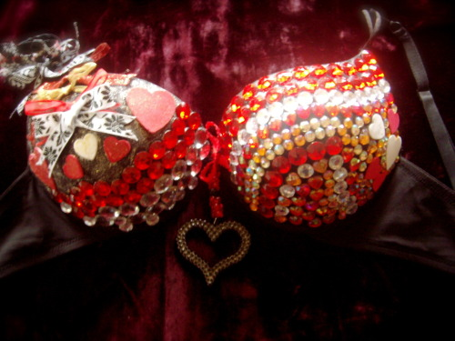 queen of hearts red circle rhinestones, red heart rhinestones, amber heart rhinestones, amber circle rhinestones, crystal rhinestones; black bra made by: olivia aurora collection