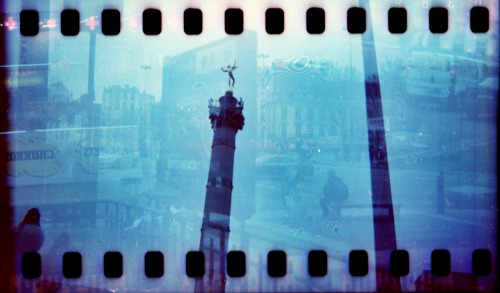 Bastille Double Exposure | shot with a Woca (hacked for 35mm) and Revolog 600nm film
