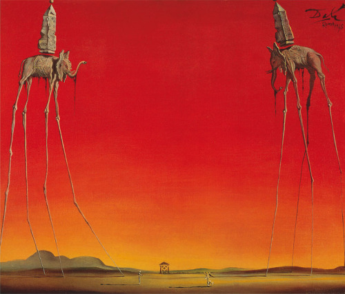 The Elephants, by Salvador Dalí 'The Elephants, 1948' is a painting of two elephants with vastly elongated legs, both carrying an obelisk, which was a commonly used motif in Dali's work. He is trying to provoke a sense of weightlessness with the elephants which comes across in their spindly legs as they carry weighty objects on their backs. Dali's work was described by himself as 'absolute naturalness, without the slightest aesthetic concern' and in producing work which he held no thought for it's beauty, he managed to create wonderfully dreamlike pieces which take the viewer into an alternate reality in which they are surrounded by hidden images and meanings. Source: PopartUK.com