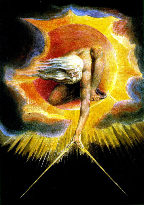 William Blake, Ancient of Days, 1764  Blake was a British poet, but experimented in the visual arts to illustrate his published works; dabbled a lot in printmaking. He believed that trying to exercise the masses was an exercise in futility.   Depicts religious subject matter in a very unique way; he's not interested in the absolute power of the church, but rather a personal and subjective experience of spirituality.   Pictured; God creating the world ('god set a compass on the surface of the deep)'. He imagined god as an architect.