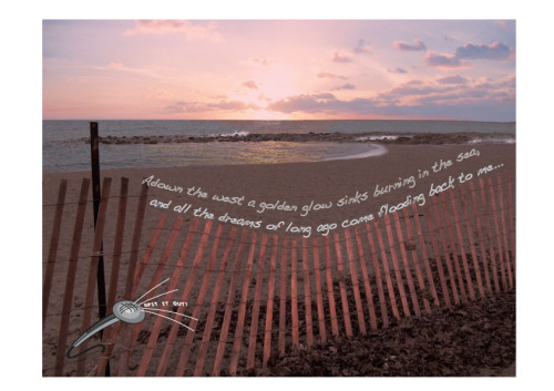Poetry ad assignment for digital imaging the original photo was the beach and the fence (taken at woodbine beach in toronto) I added the sunset digitally in photoshop and used illustrator for the text and the made-up poetry convention logo. At Sunset Time                                                                                                                                                                                                                                                                                                                                                                                                                                                                                                                                                                                                                                                                                                                                                                                                                                                                                                                                                                                                                                                                                                                                                                                                                                                                                                                                                                                                                                                                                                                                                                                                                                                                                                                                                                                                                                                                                                                                                                                                                                                                                                                                                                                                                                                                                                                                                                                                                                                                                                                                                                                                                                                                                          A DOWN the west a golden glowSinks burning in the sea,And all the dreams of long agoCome flooding back to me.The past has writ a story strangeUpon my aching heart,But time has wrought a subtle change,My wounds have ceased to smart.No more the quick delight of youth,No more the sudden pain,I look no more for trust or truthWhere greed may compass gain.What, was it I who bared my heartThrough unrelenting years,And knew the sting of misery's dart,The tang of sorrow's tears?'Tis better now, I do not weep,I do not laugh nor careMy soul and spirit half asleepDrift aimless everywhere.We float upon a sluggish stream,We ride no rapids mad,While life is all a tempered dreamAnd every joy half sad.                                                                      Paul Laurence Dunbar