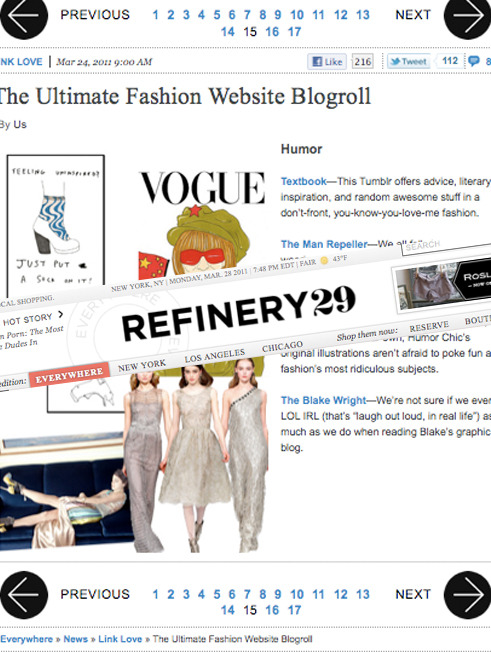 Stoked to be included in Refinery29's ultimate blogroll. Thanks guys.