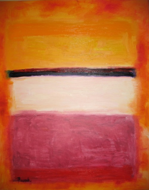 """White Center (Yellow, Pink and Pale Lilac to Dark Pink)"" by Mark Rothko"