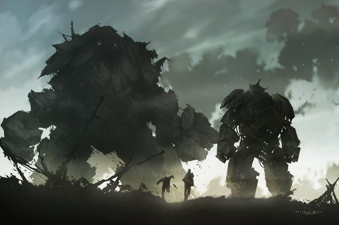 Golem vs Mech  artist: Keepwalking07