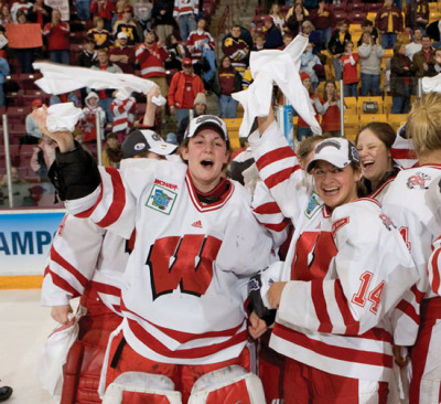 The 2011 National Champions from Wisconsin celebrating their title victory.