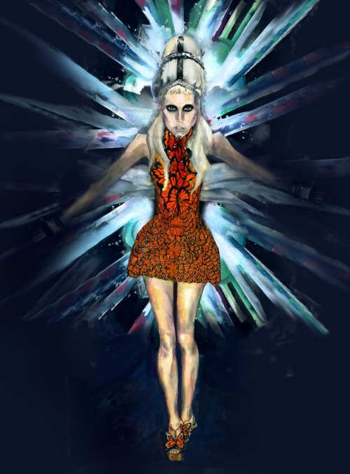 "Lady Gaga in her new ""Born this way"" look for Harpers Bazaar Spain wearing Alexander Mcqueen Spring/Summer"