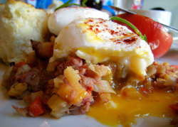 lovelylovelyfood:  Corned Beef Hash with Vegetables, Poached Eggs, Tomato Half, and Biscuit