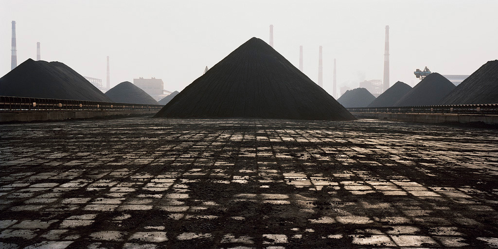 Edward Burtynsky Bao Steel #8, Shanghai, 2005 [this. is. brilliant. for so many reasons, in so many ways. the idea that industry, unbeknownst to us, is creating slow-moving asphalt (or whatever that shit is) monuments: i.e., TEMPORARY PYRAMIDS!]