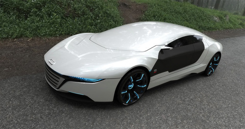 thedisembowelist:   You see this bitch? This is the fucking Audi A9 Concept vehicle. It is the most beastly motherfucker to light up my Tumblr page. The thing has engines in it's wheels. IN THE MOTHERFUCKING WHEELS. See that futuristic design? Makes Acura designs look so 2010. Oh? Where's the windshield? It's fully integrated into the roof using nano technology. That means the bitch repairs itself. Oh and that badass window and windshields? It can change from solid like that to clear when you drive.  White isn't a very sporty color? NO WORRIES. This beast can change it's motherfucking color to whatever you fucking want. THIS BITCH SHOULD GET IN MY GARAGE.  why don't they hire people from tumblr to do commercials