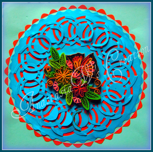 Quilling on lace cut card (by anastasiaw2008)