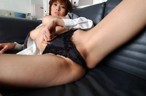 hot Asian milf in black panties