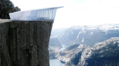 Pop-Up Restaurant Will Sit Atop Famous Buildings and Mountains  The Cube is the French Spiderman of fine dining and then some. A pair of pop-up restaurants commissioned by the Swedish appliance giant Electrolux, they're expected to travel across Europe, briefly perching atop famous buildings, monuments, and cliffs; apparently, one of 'em will even settle down in the middle of a lake.