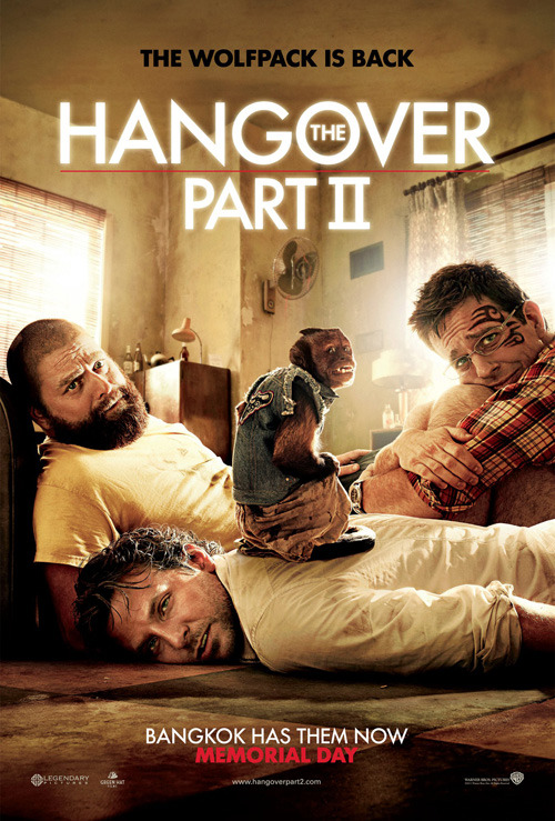 First Hangover 2 poster makes its way online The Hangover Part II is out in just a few months, and the film's first official poster has made its way online.Showing off our three leads – Zach Galifianakis, Bradley Cooper and Ed Helms – looking typically wasted/terrified, it seems like a bit of a replication of the scene we glimpsed in the film's teaser trailer.Helms in particular looks like he just needs a big hug – and with a tattoo like that on his face (courtesy of a cameoing Liam Neeson), he probably deserves it.There's also the presence of a new fourth wolf – a monkey who in the film takes a shine to Cooper's character.