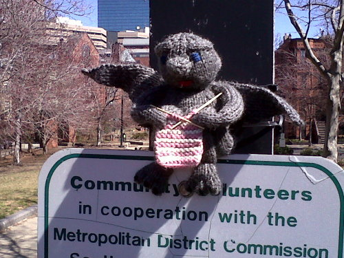 A knit knitting gargoyle yarn bomb! This little dude watches over installations that I've posted before. I just noticed him today!