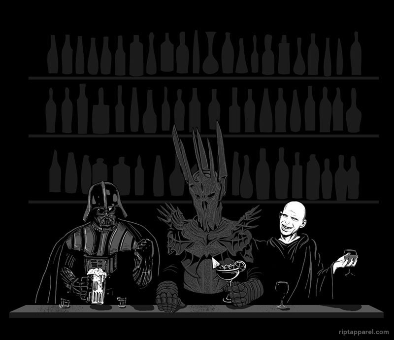 "Today's Ript Apparel T-Shirt: ""Dark Lord Happy Hour""  Darth Vader, Sauron, and Voldemort just chilling and having a drink haha"