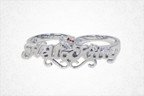 Hello Kitty Name Plate Knuckle Ring - $125
