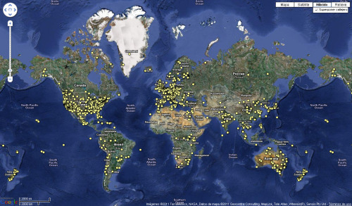 "a google map of imdb's top 2000 films from 1910 - 2010.made using google's new data management tool: fusion tables. some locations couldn't be found by google maps, and those points are mapped to the bermuda triangle. the film ""the fall"" -which started it all- isn't in the top 2000 film list, so after adding that, the totals are 2001 films, 9735 locations.+: see it bigger"