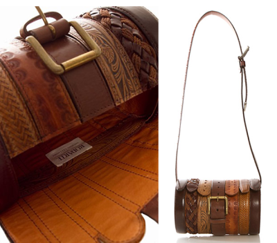 Via lustik:  Cylinder Belt Bag  - Rodarte via Cool Hunting  Makes me think of these benches that were upholstered in old leather belts.