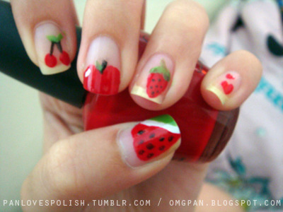 fruity nails. a re-do of my very first manicure back in 2009.