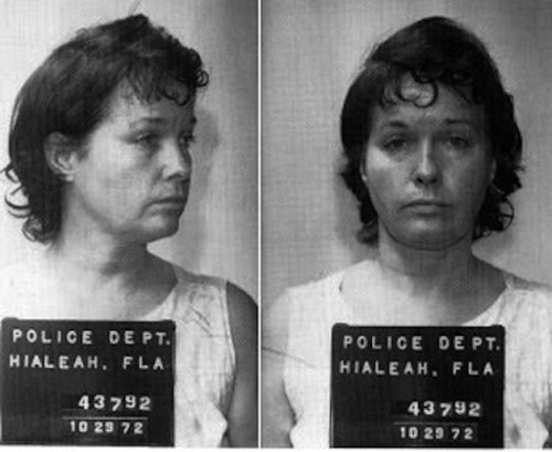 "underthesun-and-moon:    Bettie Page's mugshot from October 29th 1972  Many of Bettie's fans don't seem to know that she left the pinup world and became a religious fanatic. Years later she was diagnosed as schizophrenic and eventually spent over 11 years in a state mental institution because she stabbed three people. A husband and wife the first time, and her 66 year old roommate the second time because she said ""God inspired her to do it"".   Is this fo real?"