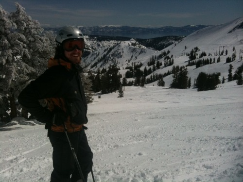 Beautiful Blue Bird Powder day yesterday at Squaw Valley. My friend Sky snapped this shot under the Mainline Pocket, which I had just ripped. It was great to see the sun but I think I saw a little too much of it (see previous post)