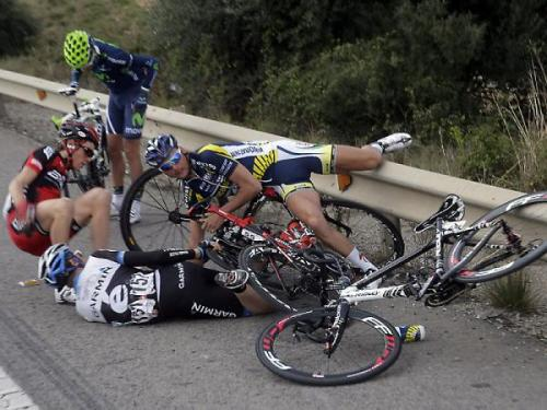 Tour of Catalunya: Stage 5 Ouch! Travis Meyer (Garmin-Cervelo), Johnny Hoogerland (Vacansoleil - DCM), Thimothy Roe (BMC) and Beñat Intxausti (Movistar) hit the deck. Photo: © Rafael Gómez Alonso