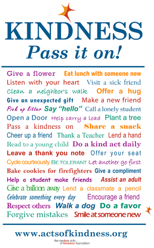 For my birthday last year, I did 30 random acts of kindness all day long.  It was the best birthday ever!!!  I came across this picture today and thought I would pass it on!  One more week and I will be 31!