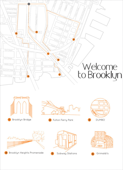 Map of Brooklyn, orienting tourists to locations around the Brooklyn Bridge Lab - Fall Semester (logo #3 created by Justin Cheung, logo #5 created by Esther Mun, logo #6 created by Sarah Al Fulaij)