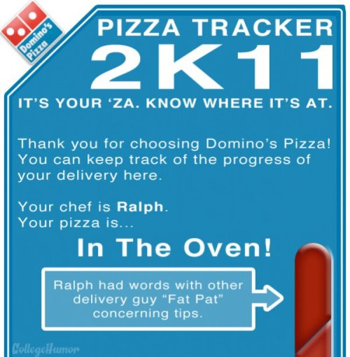 Domino's has a really neat/unnecessary feature when you order food from them online. What they do is give you this progress bar (second image) that breaks down the entire lifespan of your pizza - from baked birth to delicious death and everything in between. I've got nothing against the Domino's pizza chefs and deliverymen, but this is for MAKING ME WAIT A WHOLE GODDAMN HOUR LAST TIME! Revenge is a pie best served microwaved. (Realistic Domino's Pizza Tracker)