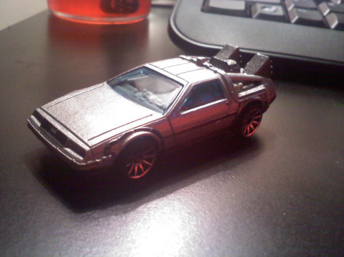 The Back to the Future DeLorean was released as Hot Wheels car this year. Even has the OUTATIME license plate. So cool.  My son has the coolest toys.