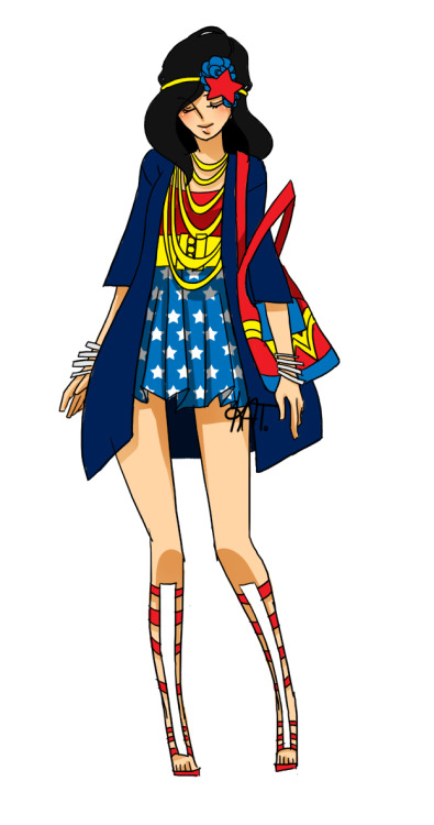 megarinri:  Wonder Woman inspi fashion sketch! Sweet and flirty. Suggestions on how to achieve this look : )! Golden colored elastic head band. Attach red star (applique, felt, or any sturdy fabric). Flowers op. Long golden necklaces (lawls suppose to be lasso of truth) Navy blue cardigan is optional. There are two tone dresses available in stores and online that are like this dress. Red top color, blue skirt color.  If there are no such dresses available, just any red top will do and an A-line skirt/blue mini skirt. (Cant find blue skirt with star print?) Buy lots of iron on stars and iron iron iron onto the blue skirt.  Golden colored waist belt. Any style will do! Silver bangles.  Gladiator shoes. I personally can't pull off gladiator shoes so I'd probably op to wear red flats or red boots : )!  Accessorize as pleased!    Robin inspi fashion sketch. KF and Miss Martian up next. Message me with any superhero (and adjectives would help) and I'll do my best to do an inspi fashion sketch.  This is so cute! I would totally wear this! :)