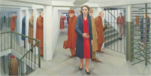 "mudwerks:  (via George Tooker, Painter Capturing Modern Anxieties, Dies at 90 - NYTimes.com) George Tooker's work expressed a 20th-century brand of anxiety and alienation. Above, ""The Subway"" from 1950.  George Tooker, a painter whose haunting images of trapped clerical workers and forbidding government offices expressed a peculiarly 20th-century brand of anxiety and alienation, died on Sunday at his home in Hartland, Vt. He was 90."