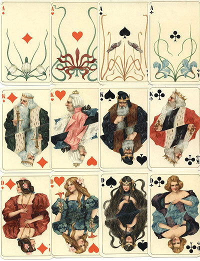 zuzulouise:  German Art Nouveau playing cards printed in Attenburg 1900