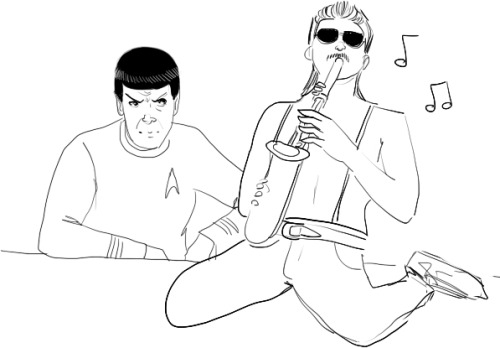richard-feynman:  vinaigrette:  Jenn wanted Spock and the Sexy Sax Man so i delivered. Horribly.  JUST NEED TO SHARE THE WONDERFUL GIFT I HAVE RECEIVED.  whatever this is i like it