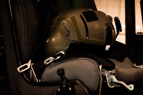 Helmet on the seat of a Griffon Helicopter