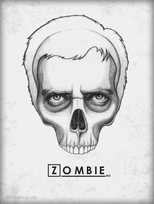 "eatsleepdraw:  House MD Skull - ""Everybody Dies"" by Olechka Facebook / Poster / t-shirt"