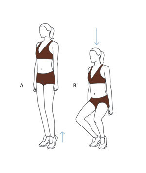 Inner Thighs Exercise. First-Position Plié SquatBegin with heels touching and toes slightly turned out. (A) Keeping heels together, rise up onto your toes. (Hold on to a wall if you feel wobbly, but maintain posture.)(B) Bend your knees into a half squat for two counts, then come back up in two counts, keeping heels together.