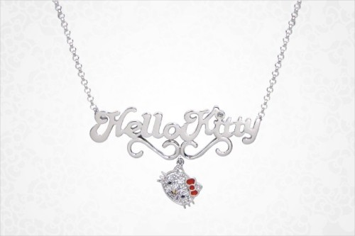 Hello Kitty Name Plate Pendant Necklace
