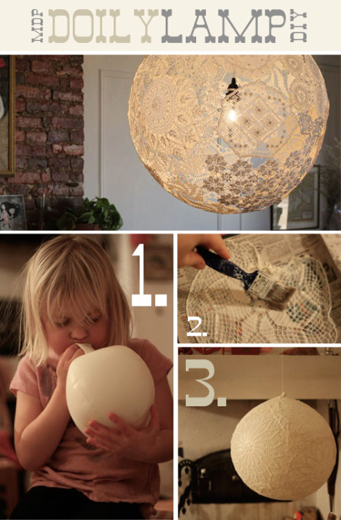 Doily lampshade instructions. So cool! – More Design Please - MoreDesignPlease - DIY Doily Lamp [via]