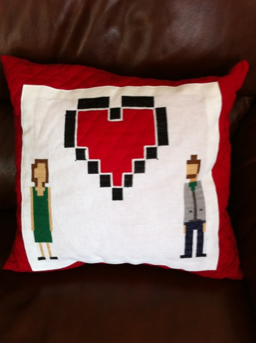 My latest project. An 8-bit inspired needlepoint pillow for a nice fellow who has been kind of enough to be my buddy for 3 years.