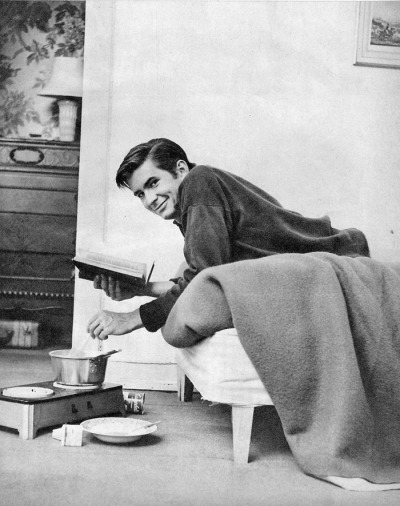 Anthony Perkins at home, 1960.