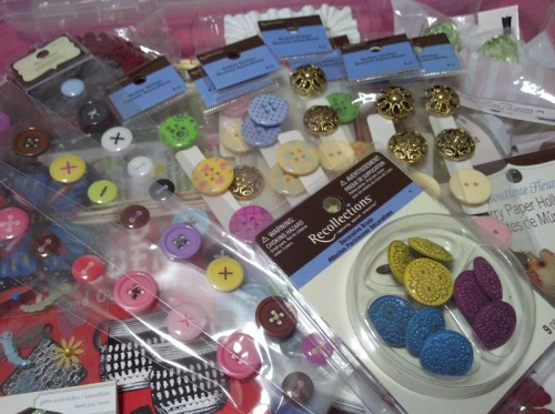 BUTTON STICKERS & BRADS: Michael's Arts and Crafts Store continues to profit from my love of buttons and all things crafty. (by me, dawt)