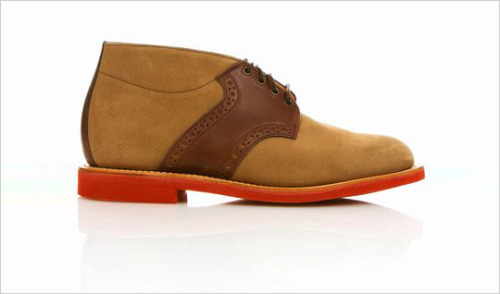 "Mark McNairy New Amsterdam Saddle Chukka Boot - I can picture this with maybe a dark green cardigan, dark jeans, and the shoes to juxtapose. ""An interesting one from the McNairy line. The saddle shoe gets a heighten take in the form of a ""chukka."" The red brick sole finishes it off well against the leather upper.Opening Ceremony has them."""