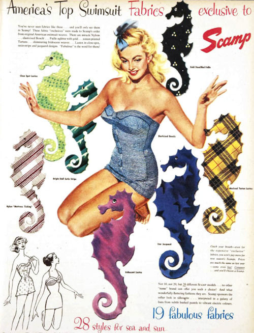 vivatvintage:  Scamp swimsuits, 1953.