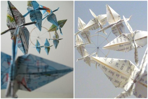 bookspaperscissors:  Around the World and Bookish Crane Mobiles by SpareBedroomStudio on Etsy