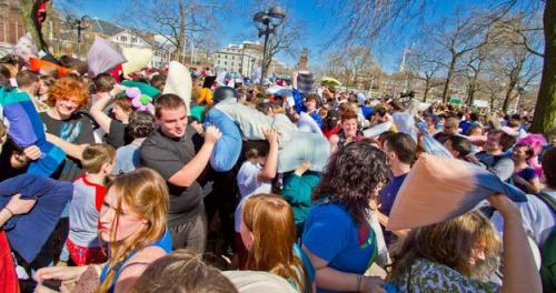 "International Pillow Fight Day? This is going on the calendar!  Find your local fight at http://pillowfightday.com (of course).  Feathers will fly this Saturday, 2 April, as citizens of the world take up down-filled arms to celebrate International Pillow Fight Day. With events organised from Caracas to Cincinnati, these flash-mob style fights have been held worldwide since 2008, with more than 100 cities joining in the fun this year. The light-hearted pillow fights, which the website says were initiated by the decentralised ""urban playground movement"", aim to turn cities into ""urban living rooms"" where public spaces can be reclaimed for social and spontaneous use. (via BBC - Travel - International Pillow Fight Day : Holidays — h/t Heather F.)"